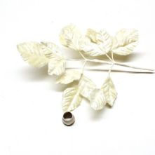 Vintage Ivory Velvet Rose Leaves